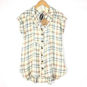 NWT Kori Boutique plaid babydoll blouse top